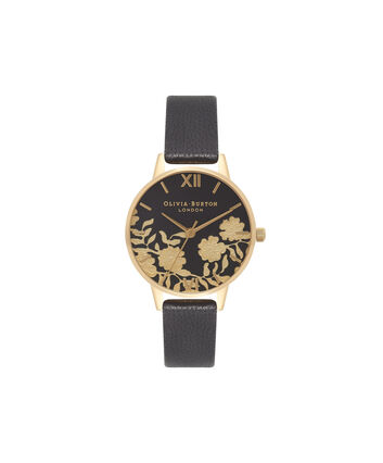 OLIVIA BURTON LONDON  Black & Gold Watch OB16MV60 – Midi Dial Round in Black - Front view