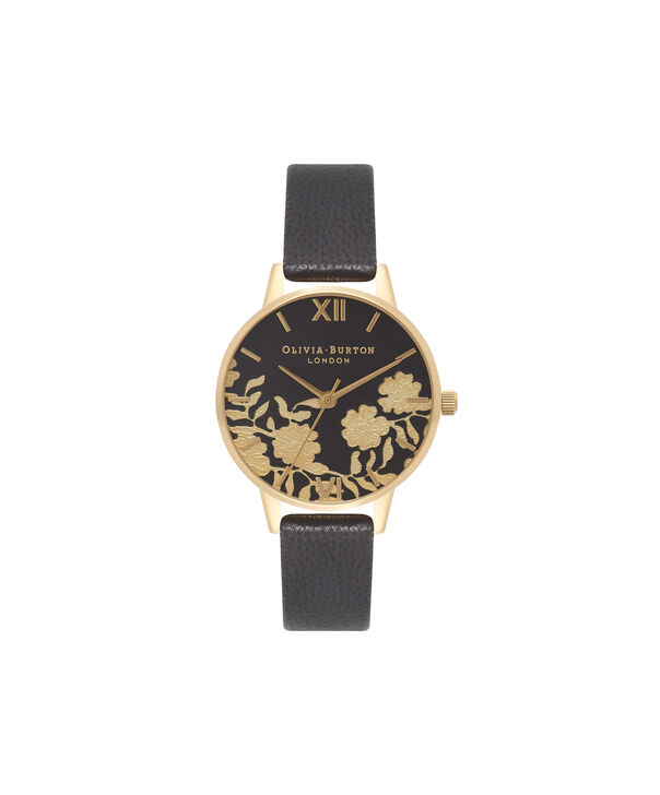 OLIVIA BURTON LONDON Lace Detail Black & Gold Watch OB16MV60 – Midi Dial Round in Black - Front view
