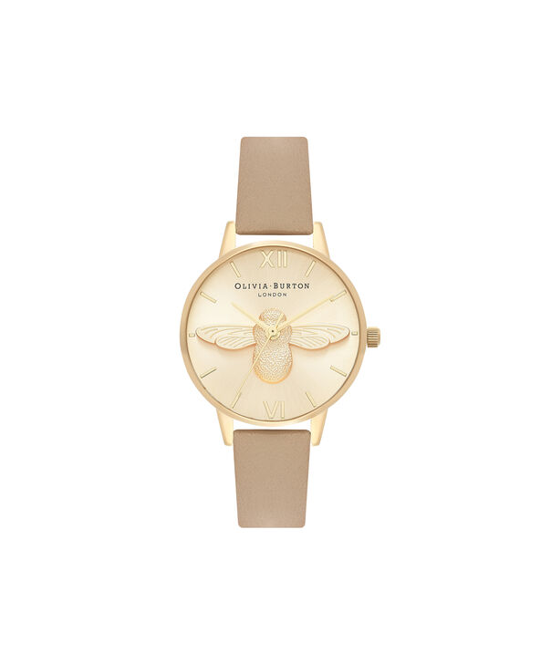 OLIVIA BURTON LONDON  3D Bee Sand & Gold OB16AM150 – Midi Dial Round in Gold and Brown - Front view