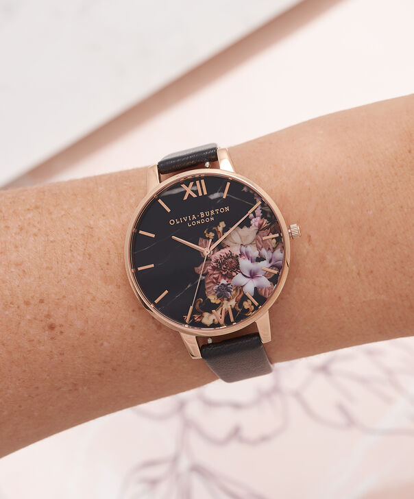 OLIVIA BURTON LONDON  Marble Floral Black & Rose Gold Watch OB16CS01 – Big Dial Round in Floral and Black - Other view