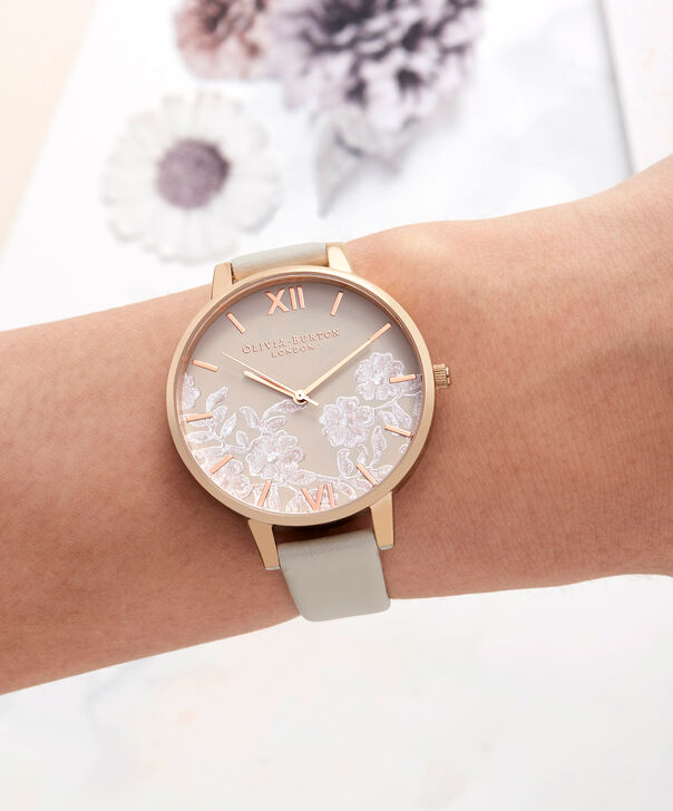 OLIVIA BURTON LONDON  Lace Detail Nude & Rose Gold Watch OB16MV80 – Big Dial Round in Rose Gold and Nude - Other view