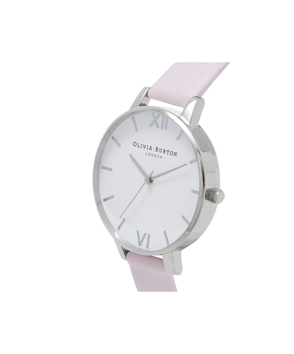 OLIVIA BURTON LONDON  White Dial Silver and Blossom Watch OB16BDW34 – Big Dial Round in White and Silver - Side view