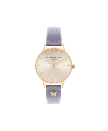 OLIVIA BURTON LONDON Exclusive Midi Dial Teal Velvet & Gold Sunray OB16MD89 – Big Dial Round in Gold and Teal - Front view