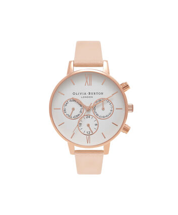 OLIVIA BURTON LONDON  Chrono Detail Nude Peach & Rose Gold Watch OB16CG88 – Big Dial Round in White and Peach - Front view