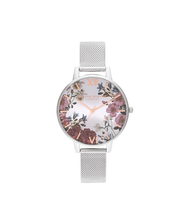 OLIVIA BURTON LONDON British Blooms Rose Gold & Silver MeshOB16EG133 – British Blooms Rose Gold & Silver Mesh - Front view