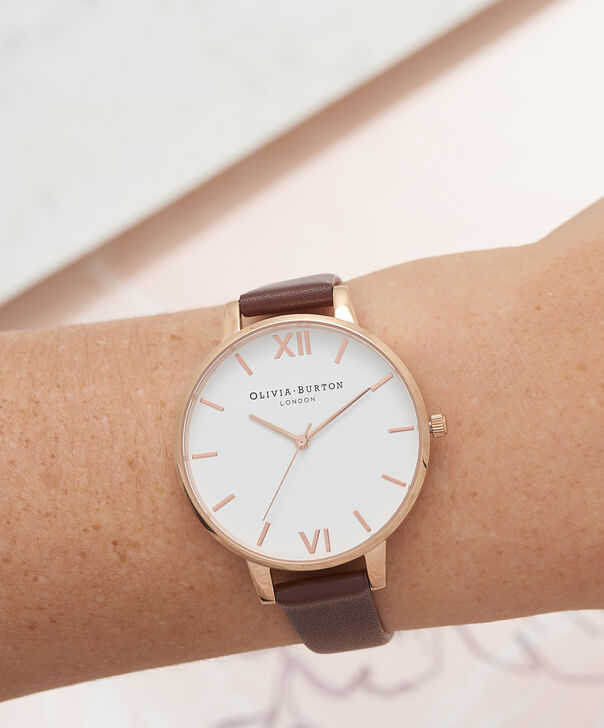 OLIVIA BURTON LONDON  White Dial Chocolate & Rose Gold Watch OB16BDW32 – Big Dial in Rose Gold and Chocolate - Other view