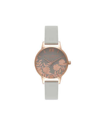 OLIVIA BURTON LONDON Lace Detail Grey & Rose Gold Watch OB16MV58 – Midi Dial Round in Grey - Front view