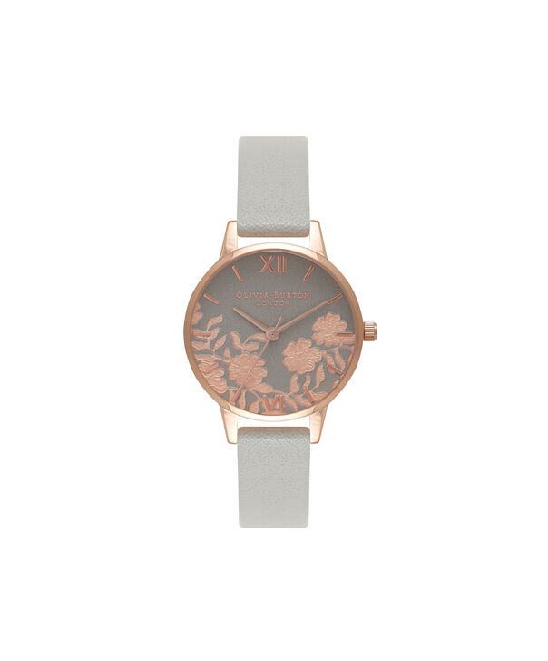 Ladies Lace Detail Grey & Rose Gold Watch | Olivia Burton London
