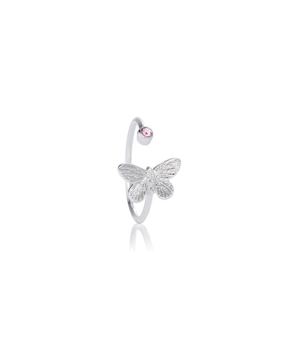 OLIVIA BURTON LONDON Bejewelled Butterfly Ring Silver & Pink StoneOBJ16MBR02 – Ring in  and Silver - Side view