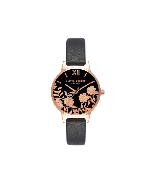 OLIVIA BURTON LONDON Lace Detail Black & Rose Gold Watch OB16MV75 – Midi Dial Round in Black - Front view