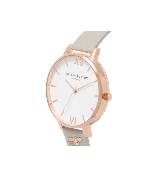 OLIVIA BURTON LONDON  3D Bee Embellished Strap Grey & Rose Gold Watch OB16ES13 – Big Dial Round in White and Grey - Side view