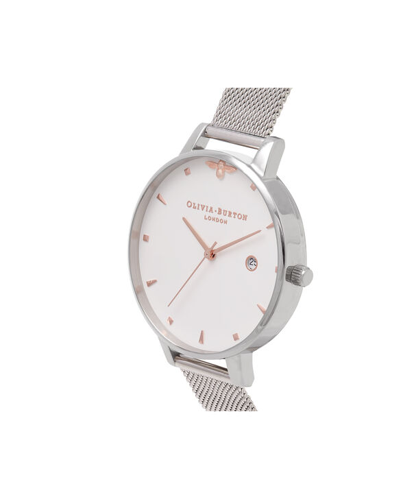 OLIVIA BURTON LONDON Rose Gold & Silver Mesh WatchOB16AM115 – Big Dial Round in White and Silver - Side view