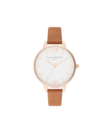 OLIVIA BURTON LONDON Timeless Honey Tan & Pale Rose GoldOB16TL13 – Timeless Honey Tan & Pale Rose Gold - Front view