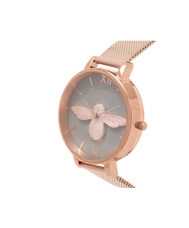 OLIVIA BURTON LONDON  3D Bee Rose Gold Mesh Watch OB16AM117 – Big Dial Round in Grey and Rose Gold - Side view