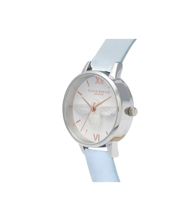 OLIVIA BURTON LONDON  Midi 3D Bee Chalk Blue, Silver & Rose Gold Watch OB16AM125 – Midi Dial Round in Silver and Blue - Side view