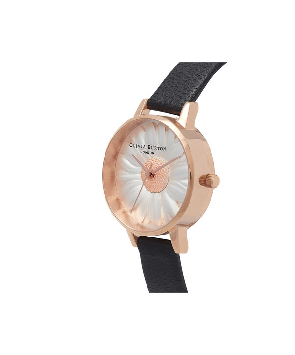 OLIVIA BURTON LONDON  Flower Show 3D Daisy Black & Rose Gold Watch OB16FS97 – Midi Dial Round in White and Black - Side view