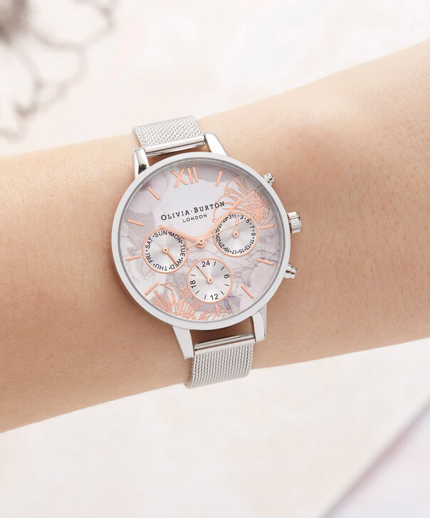 OLIVIA BURTON LONDON  Chrono Demi Dial Silver Mesh OB16CGS06 – Demi Dial Round in Silver and Silver - Other view
