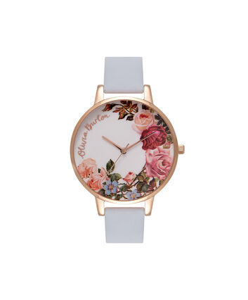 OLIVIA BURTON LONDON  English Garden Chalk Blue & Rose Gold Watch OB16ER06 – Big Dial Round in White and Blue - Front view