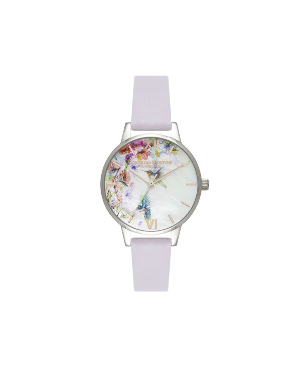 OLIVIA BURTON LONDON  Painterly Prints Parma Violet, Rose Gold & Silver OB16PP50 – Midi Dial Round in Silver and Rose Gold - Front view