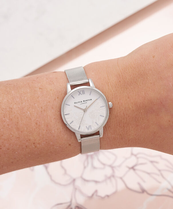 OLIVIA BURTON LONDON  Lace Detail Silver Mesh Watch OB16MV54 – Midi Dial Round in White and Silver - Other view
