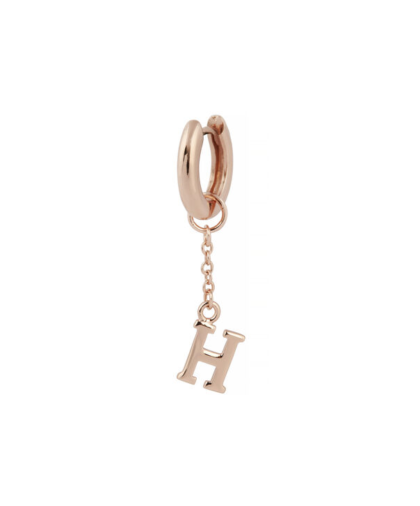OLIVIA BURTON LONDON  H Alphabet Huggie Charm Rose Gold OBJ16HCRGH – Charms - Side view