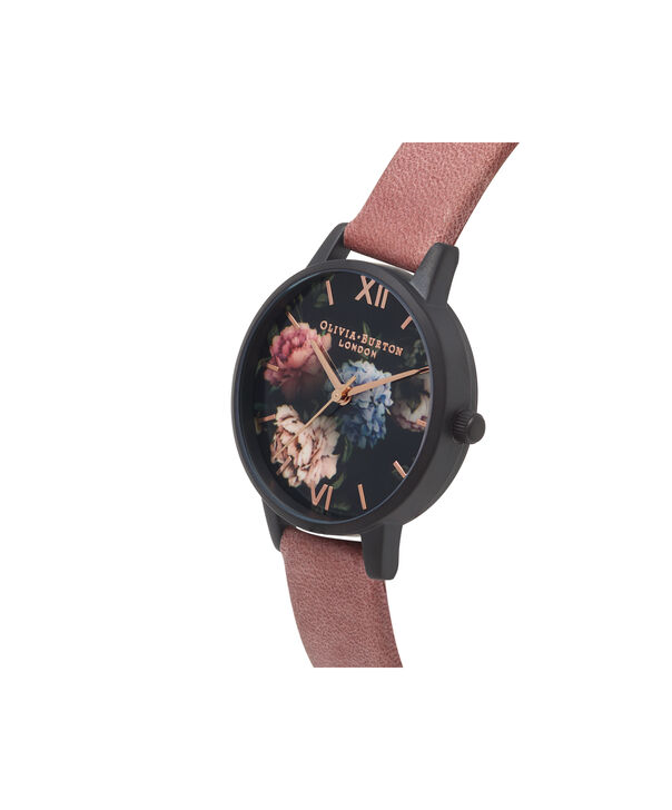 OLIVIA BURTON LONDON  After Dark Rose Suede & Matte Black OB16AD32 – Midi Dial Round in Black and Rose Gold - Side view