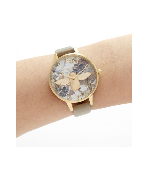 OLIVIA BURTON LONDON Marble Florals Demi 3D Bee Sand & GoldOB16CS22 – Demi Dial In Brown And Gold - Other view