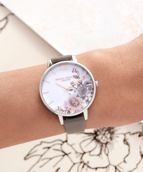 OLIVIA BURTON LONDON  Enchanted Garden London Grey & Silver Watch OB16WG38 – Big Dial Round in Floral and London Grey - Other view
