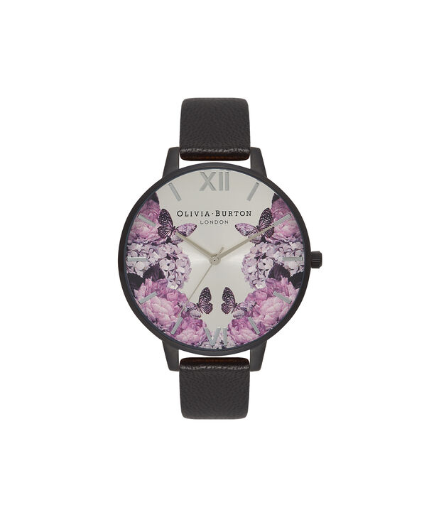 OLIVIA BURTON LONDON  After Dark Black Floral & IP Black Watch OB16AD10 – Big Dial Round in Floral and White - Front view