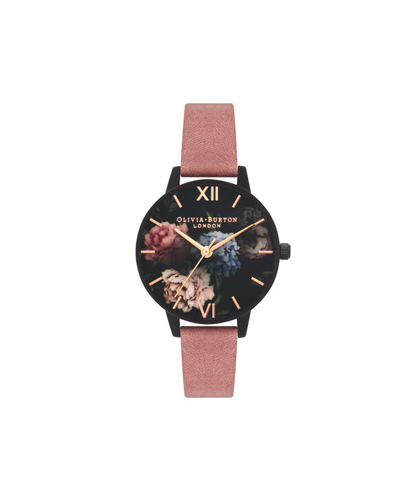 OLIVIA BURTON LONDON  After Dark Rose Suede & Matte Black OB16AD32 – Midi Dial Round in Black and Rose Gold - Front view