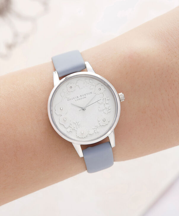 OLIVIA BURTON LONDON  Artisan Dial Chalk Blue & Silver OB16AR03 – Midi Dial Round in Silver and Blue - Other view