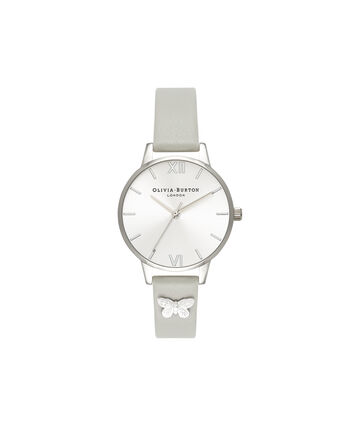 OLIVIA BURTON LONDON  Embellished Strap Grey & Silver Butterfly OB16MD93 – Midi Dial Round in Silver and Grey - Front view
