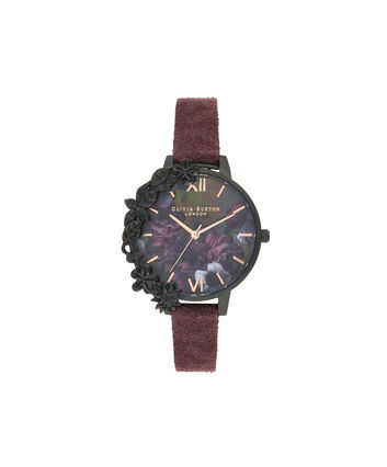 OLIVIA BURTON LONDON After Dark Case Cuff Demi Dial Watch with Wine SuedeOB16AD44 – Demi Dial in pink and Black & Rose Gold - Front view