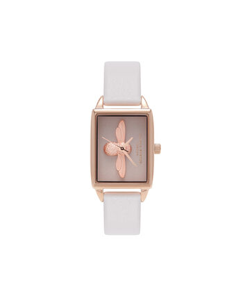 OLIVIA BURTON LONDON  3D Bee Blush Dial Blush & Rose Gold Watch OB16AM103 – Midi Dial Square in Blush - Front view