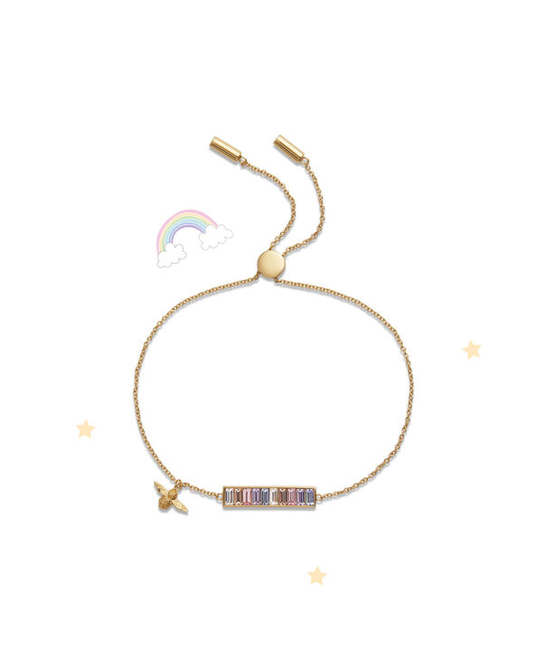 OLIVIA BURTON LONDON Rainbow Bee Baguette Bar Bracelet GoldOBJAMB78 – Bracelet in Gold - Front view