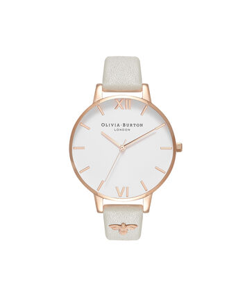 OLIVIA BURTON LONDON  3D Bee Embellished Strap Grey & Rose Gold Watch OB16ES13 – Big Dial Round in White and Grey - Front view