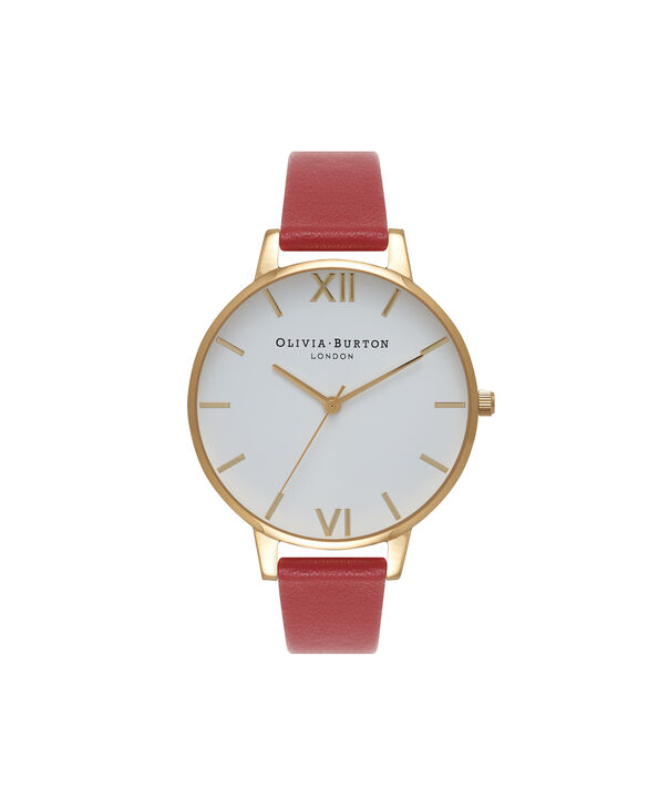 OLIVIA BURTON LONDON  Big Dial Red & Gold Watch OB15BDW01 – Big Dial Round in White and Red - Front view