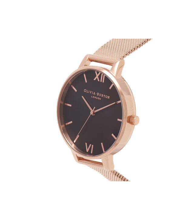OLIVIA BURTON LONDON  Black Dial & Rose Gold Mesh Watch OB16BD89 – Big Dial Round in Black and Rose Gold - Side view