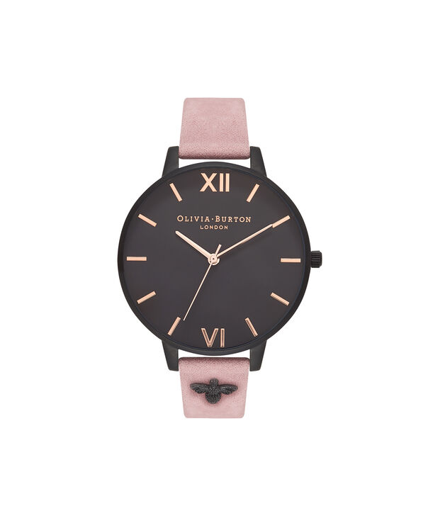 OLIVIA BURTON LONDON  3D Bee Embellished Strap Rose Suede & Ip Black Watch OB16ES09 – Big Dial Round in Black and Rose - Front view