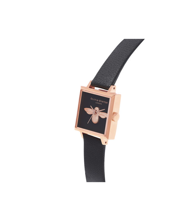 OLIVIA BURTON LONDON  3D Bee Square Dial Black & Rose Gold Watch OB16AM128 – Midi Dial Square in Black - Side view