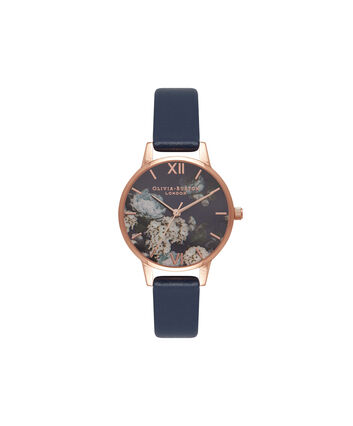 OLIVIA BURTON LONDON  Signature Floral Navy & Rose Gold Watch OB16WG13 – Midi Dial Round in Floral and Navy - Front view