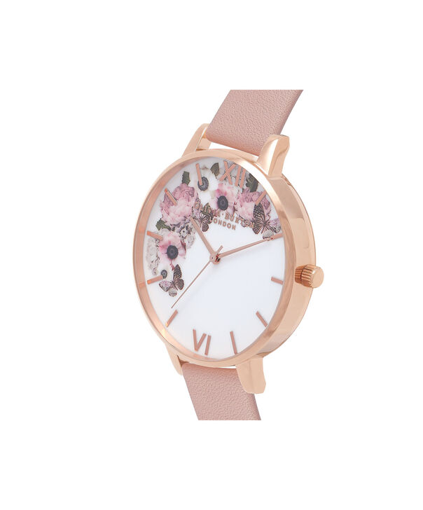 OLIVIA BURTON LONDON  Signature Floral Dusty Pink & Rose Gold Watch OB15WG10 – Big Dial Round in White and Pink - Side view