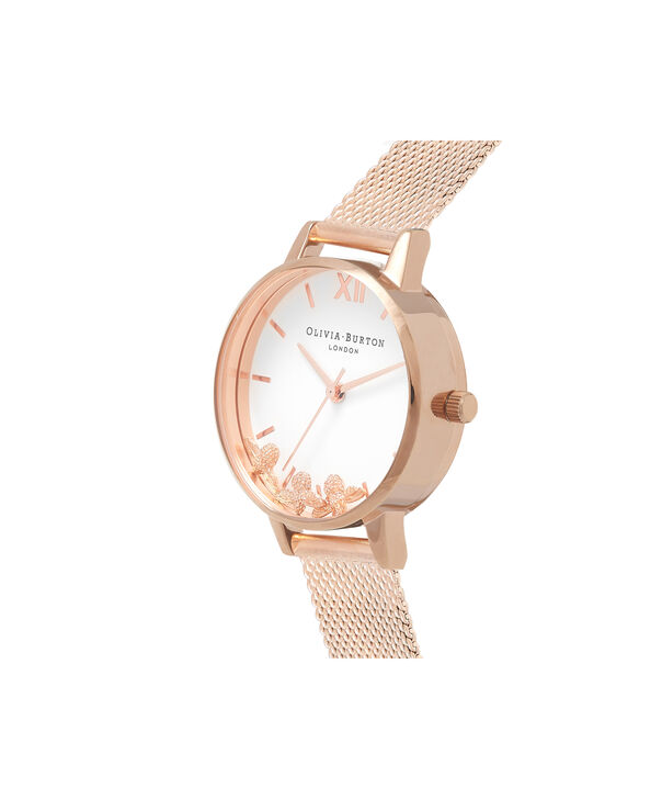 OLIVIA BURTON LONDON  Busy Bees Rose Gold Mesh Watch OB16CH01 – Midi Dial Round in White and Rose Gold - Side view