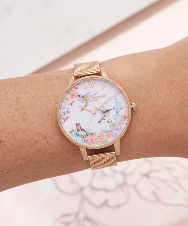 OLIVIA BURTON LONDON  Painterly Prints Hummingbird Nude Peach & Rose Gold Watch OB16PP21 – Big Dial Round in Floral and Rose Gold - Other view