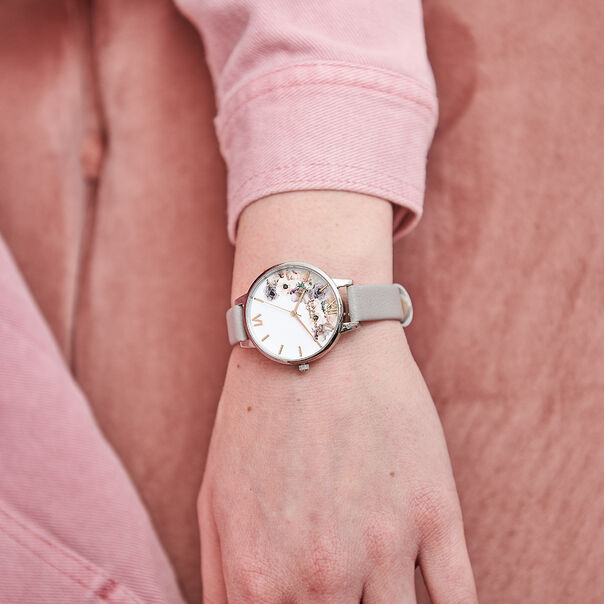 OLIVIA BURTON LONDON Watercolour Florals Demi Grey Lilac Rose Gold & SilverOB16PP56 – Demi Dial In Grey And Silver - Other view