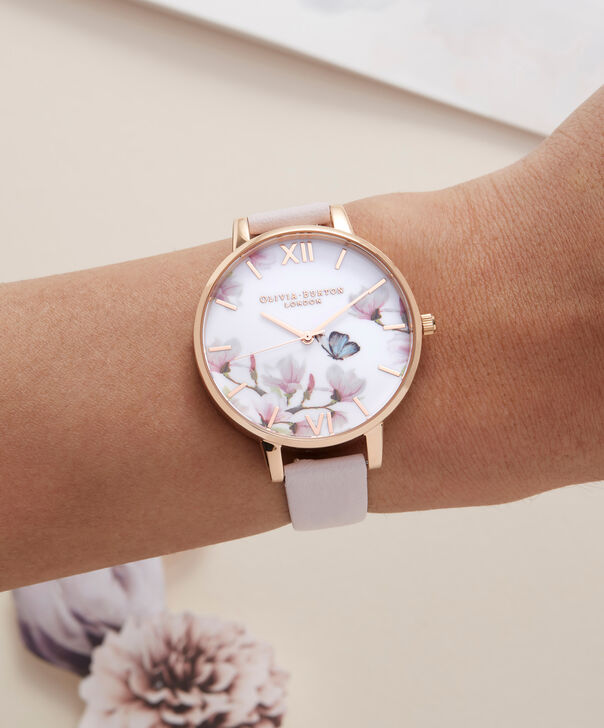 OLIVIA BURTON LONDON  Pretty Blossom Rose Gold & Blossom Watch OB16EG93 – Big Dial Round in Rose Gold and Blossom - Other view