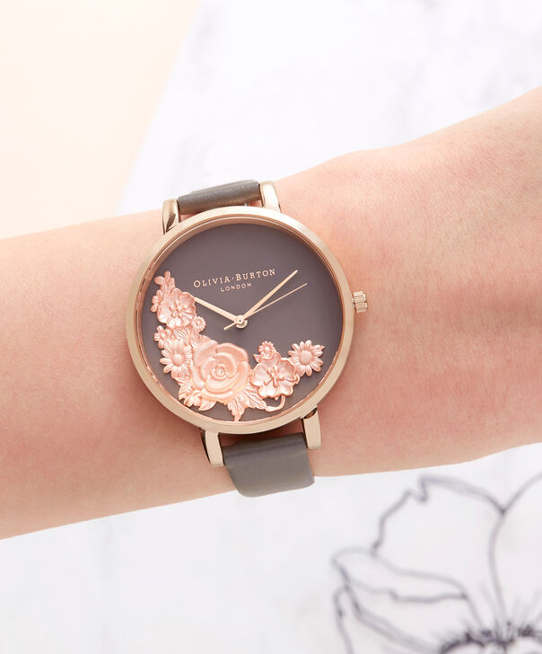OLIVIA BURTON LONDON  Floral Bouquet London Grey & Rose Gold Watch OB16FS99 – Big Dial Round in Floral and Rose Gold - Other view