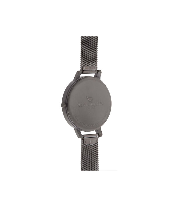 OLIVIA BURTON LONDON  Big Dial Gunmetal Mesh Watch OB16BDW06 – Big Dial Round in White and Gunmetal - Back view
