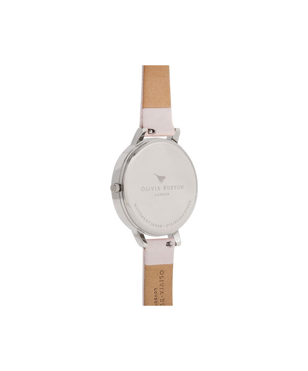OLIVIA BURTON LONDON  Signature Florals Blush & Silver OB16WG51 – Big Dial Round in Silver - Back view