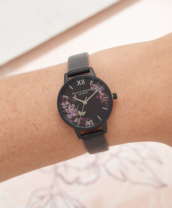 OLIVIA BURTON LONDON  After Dark Black & Ip Black Watch OB16AD22 – Midi Dial Round in Floral and Black - Other view